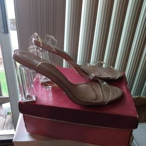 Size 10 clear chunky heel sandals